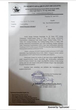 Surat Edaran Pelayanan SIDAKEP Dari Dinas Kependudukan dan Pencatatan Sipil Kabupaten Buleleng