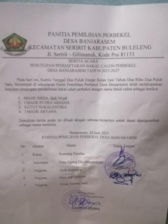 Penutupan Pencalonan Perbekel Oleh Panitia Pemilihan Perbekel Desa Banjarasem TH. 2021